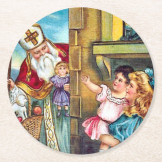 St Nick Delivers Christmas Round Paper Coaster