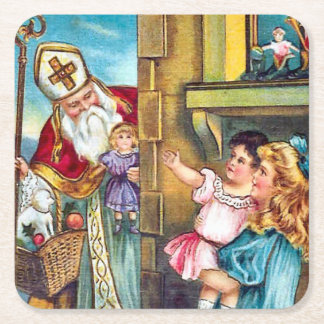St Nick Delivers Christmas Square Paper Coaster