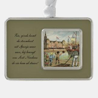St. Nick Dutch Sinterklaas arrives on boat Vintage Ornament