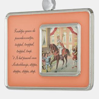 St. Nick Dutch Sinterklaas riding on horse Vintage Christmas Ornament