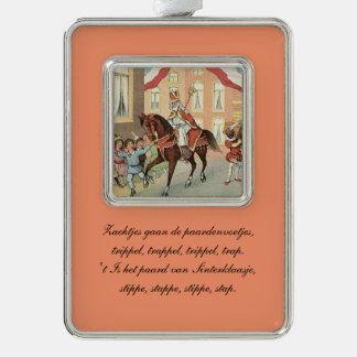 St. Nick Dutch Sinterklaas riding on horse Vintage Silver Plated Framed Ornament