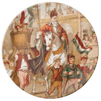 St Nick Sinterklaas St. Nicholas Vintage Drawing Porcelain Plate