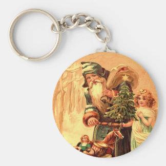 st nick vintage key ring basic round button keychain