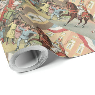 St. Nick's Day Dutch Sinterklaas on Horse Vintage Wrapping Paper