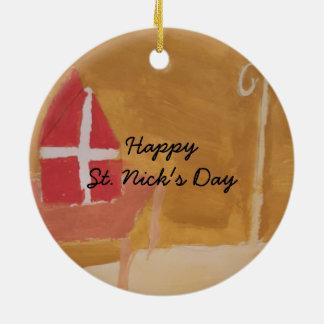 St. Nick's Day Dutch Sinterklaas  Watercolor Miter Ceramic Ornament