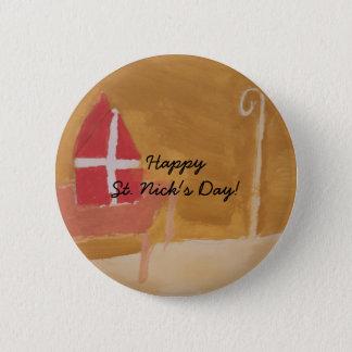 St. Nick's Day Dutch Sinterklaas  Watercolor Miter Pinback Button