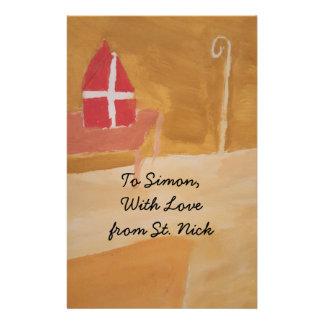 St. Nick's Day Dutch Sinterklaas  Watercolor Miter Stationery