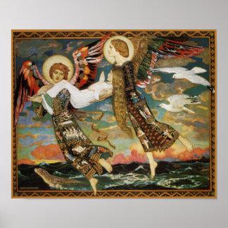 St. novia - llevada por ángeles - por Juan Duncan Póster