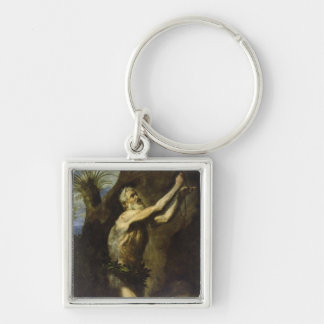 St. Onuphrius Silver-Colored Square Keychain