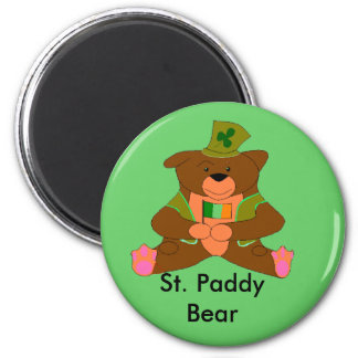 St. Paddy Bear 2 Inch Round Magnet