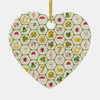 St. Paddy Luck Ceramic Heart Ornament