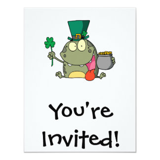 "st paddy patty day froggy frog 4.25"" x 5.5"" invitation card"