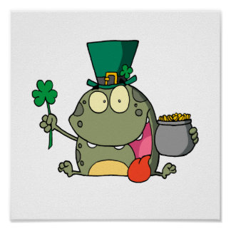 st paddy patty day froggy frog poster