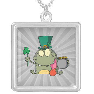 st paddy patty day froggy frog square pendant necklace