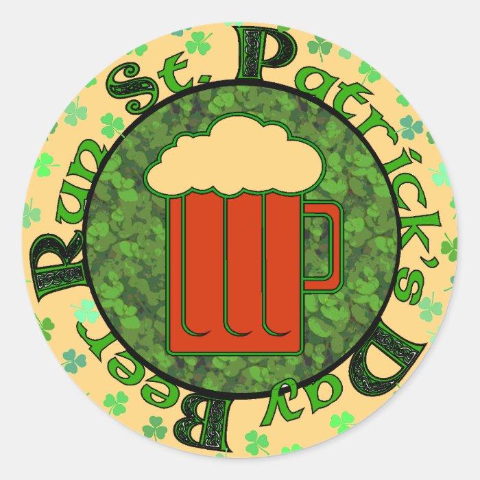 St Paddy's Beer Run Classic Round Sticker