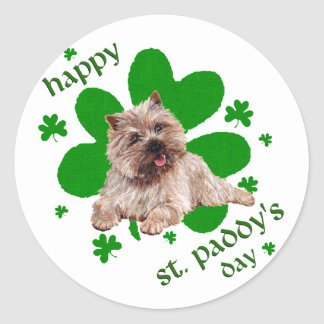 St Paddys Day Cairn Terrier Classic Round Sticker
