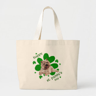 St Paddys Day Cairn Terrier Large Tote Bag