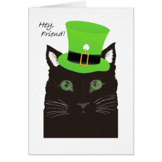 St Paddy's Day, for Friend, Cat wears Top Hat Card