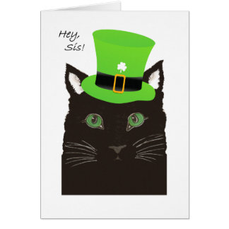 St Paddy's Day, for Sister, Sis, Cat wears Hat Card
