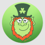 St Paddy's Day Leprechaun Smiling Classic Round Sticker