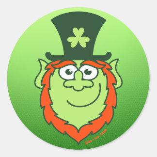 St Paddy's Day Leprechaun Smiling Classic Round Sticker