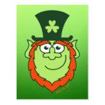 St Paddy's Day Leprechaun Smiling Postcard