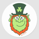 St Paddy's Day Leprechaun Smiling Round Stickers
