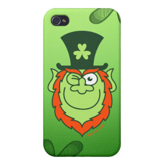 St Paddy's Day Leprechaun Winking and Smiling iPhone 4 Cover