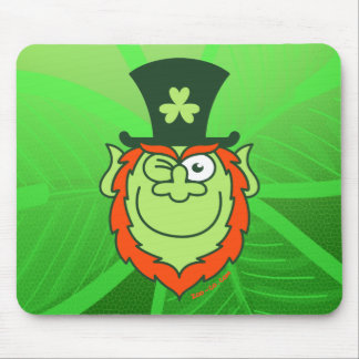 St Paddy's Day Leprechaun Winking and Smiling Mouse Pad