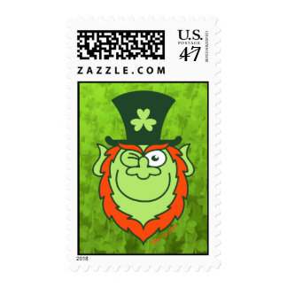 St Paddy's Day Leprechaun Winking and Smiling Postage