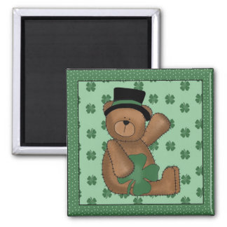 St. Paddy's Day Shamrock Bear 2 Inch Square Magnet