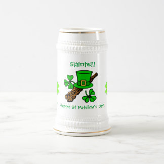 St Paddy's Day top hat, shamrock and shillelagh Beer Stein