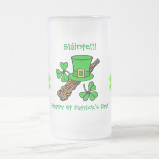St Paddy's Day top hat, shamrock and shillelagh Frosted Glass Beer Mug