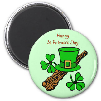 St Paddy's Day top hat, shamrock and shillelagh Magnet