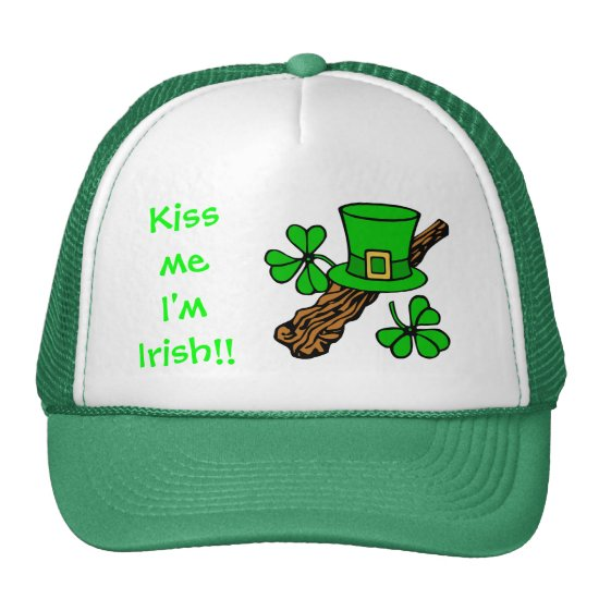 St Paddy's Day top hat, shamrock and shillelagh Trucker Hat