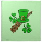 St Paddy's Hat and Shamrocks Napkin