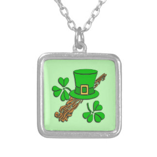 St Paddy's Hat and Shamrocks Square Pendant Necklace