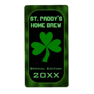 St Paddys Home Brew Green Shamrock Beer Labels