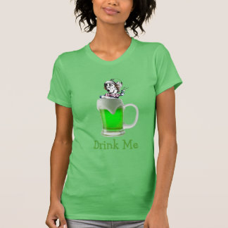 St Paddys Mad Hatter Drink Me Neon Green Beer T-Shirt