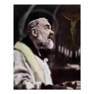 St Padre Pio at Mass. Poster