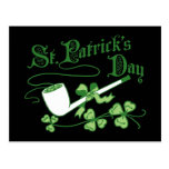 St Parrick's Day Leprechaun Pipe Postcard