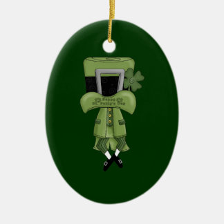 St Pat Lost in his hat Double-Sided Oval Ceramic Christmas Ornament