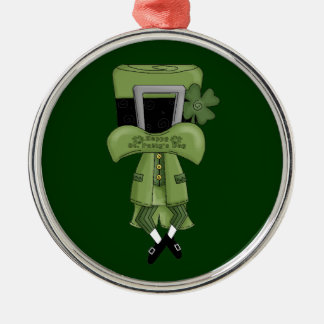 St Pat Lost in his hat Metal Ornament
