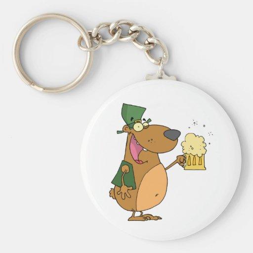 St Patrick bear drinking beer Key Chain