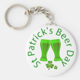 St.Patrick Beer Day March 17 Basic Round Button Keychain