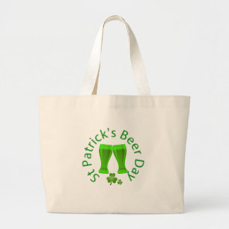 St.Patrick Beer Day March 17 Large Tote Bag