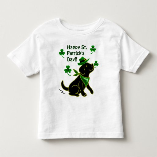 St. Patrick Day Black Labrador Toddler T-shirt