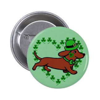 St. Patrick Day Dachshund Cartoon 7 Button