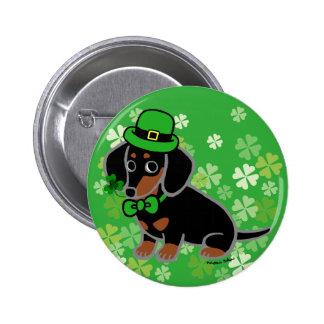 St. Patrick Day Dachshund Cartoon 3 Buttons