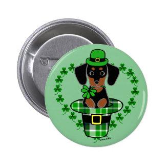 St. Patrick Day Dachshund Cartoon 4 Buttons
